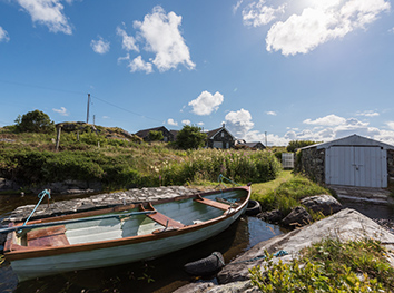boathouse and boat at connemara maumeen cottage